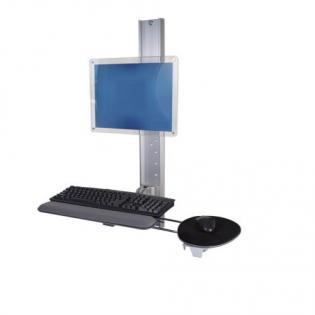 Track Mounted Workstation With Fold Up Keyboard Tray