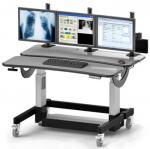 Radiology Furniture: Height Adjustable, Bi-Level Radiology Workstation