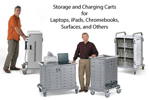 storage and charging carts for laptops, iPads, chromebooks