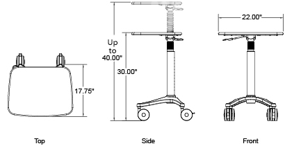 mobile phlebotomy cart - dimensions