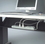 mobile training table - cable tray