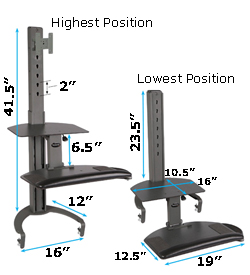 sit stand keyboard platform dimensions