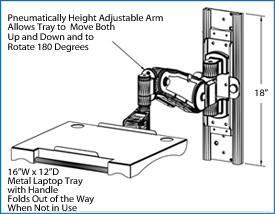 wall mount laptop arm dimensions