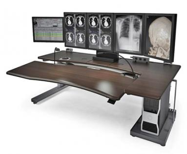 Radiology Furniture: PACS Workstations with Powered Height Adjustment