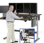 Powered Adjustable Height Workstation for Multi-Monitor Environments