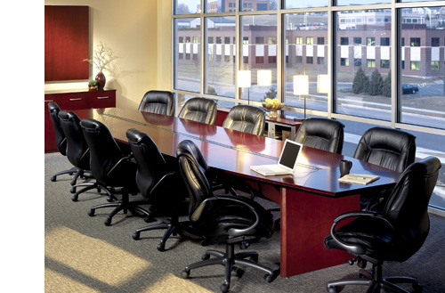 Large Conference Tables with Rich Wood Veneer in Lengths of up to 30 Feet