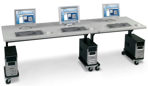 Mobile Computer Training Tables in 3 Widths Are Height Adjustable