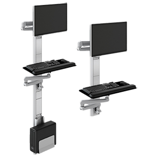Premium Wall Mount Computer Station with Fold-up Keyboard